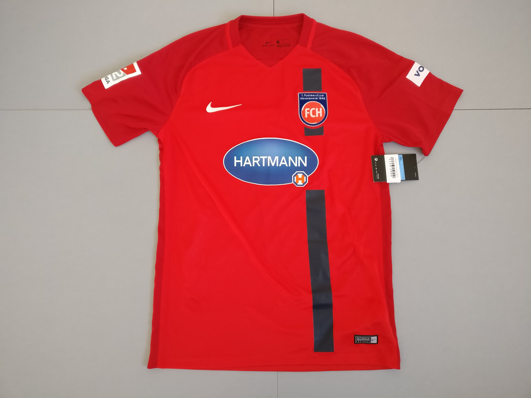 1. FC Heidenheim 1846 Home 2017/2018 Football Shirt Manufactured By Nike. The Club Plays Football In Germany.