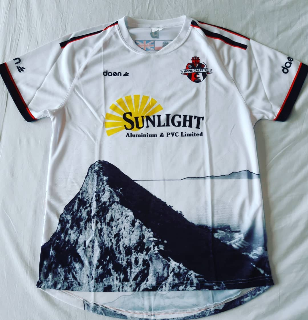Mons Calpe S.C. Away 2015/2016 Football Shirt Manufactured By Daen. The club plays football in Gibraltar.