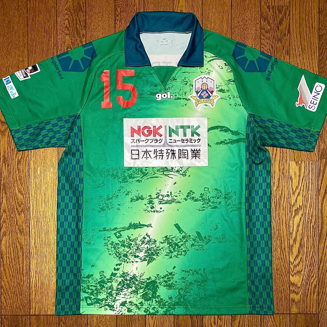 FC Gifu Home 2015 Football Shirt Manufactured By Gol. The club plays football in Japan.