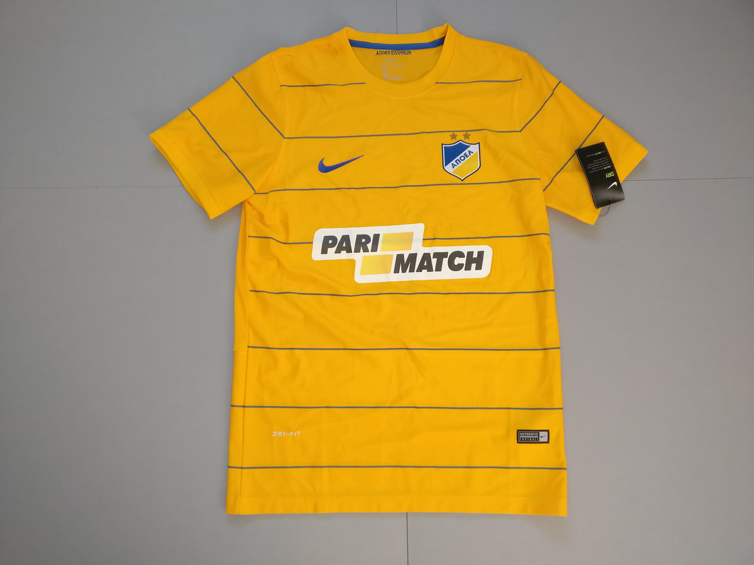 APOEL FC Home 2016/2017 Football Shirt Manufactured By Nike. The Team Plays Football In Cyprus.