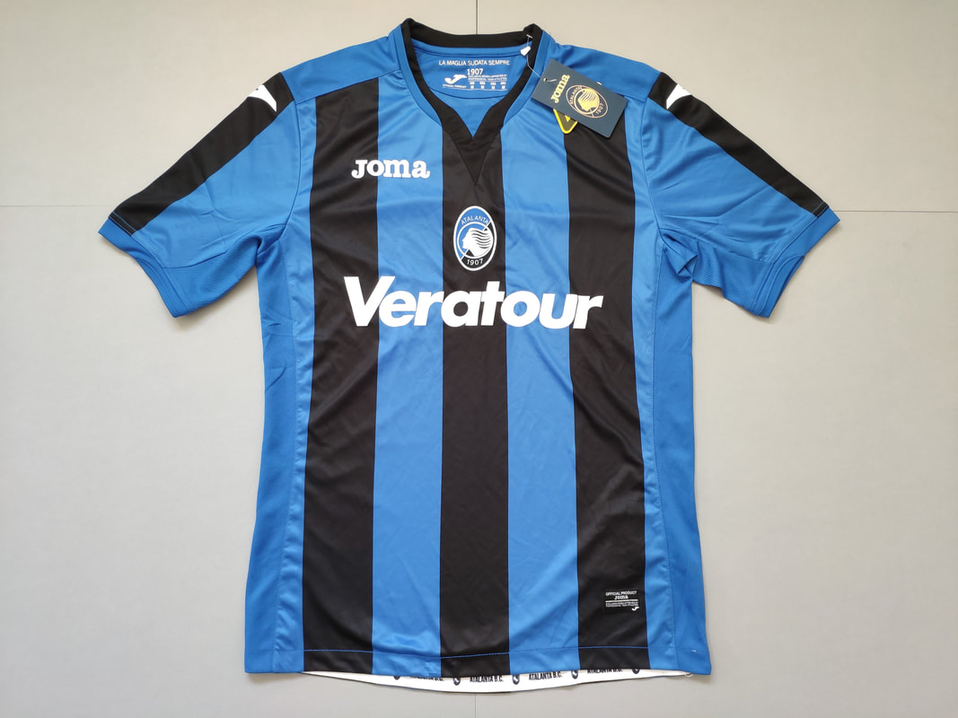 Atalanta Bergamasca Calcio Home 2017/2018 Football Shirt Manufactured By Joma. The Club Plays Football In Italy.
