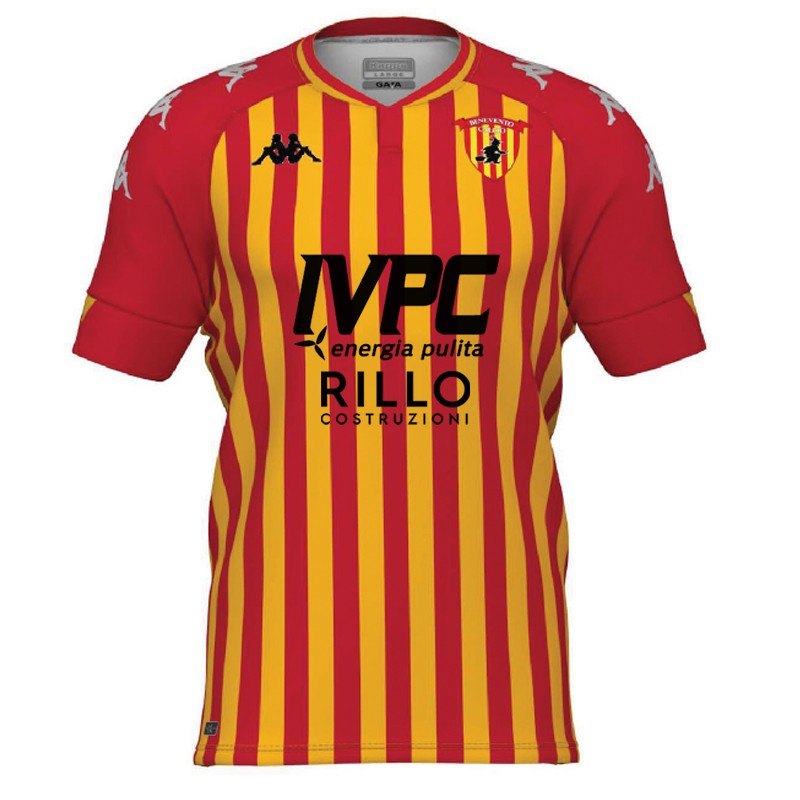 Benevento Home 2020/2021 Football Shirt Manufactured By Kappa. The Club Plays Football In Italy.