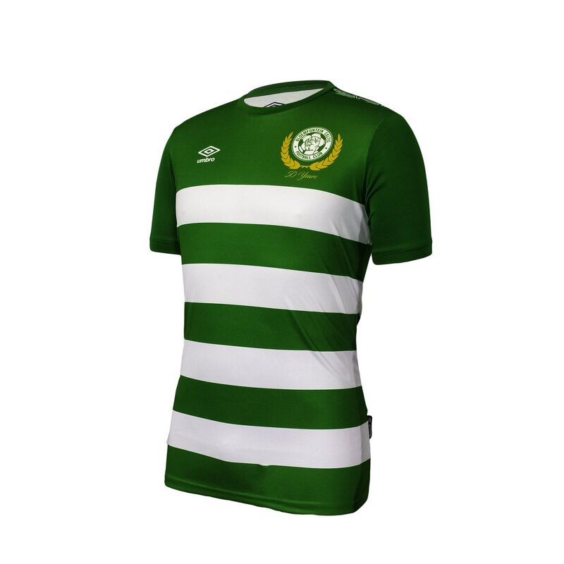 Bloemfontein Celtic F.C. 2019/2020 Home Football Shirt Manufactured By Umbro. The Club Plays Football In South Africa.