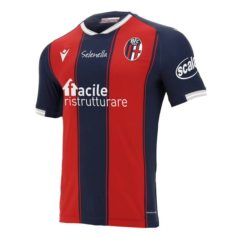 Bologna Home 2020/2021 Football Shirt Manufactured By Macron. The Club Plays Football In Italy.