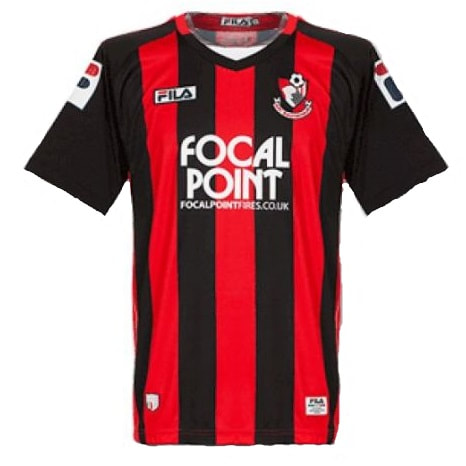 Bournemouth Home 2011/2012 Football Shirt Manufactured By Fila. The Club Plays Football In England.