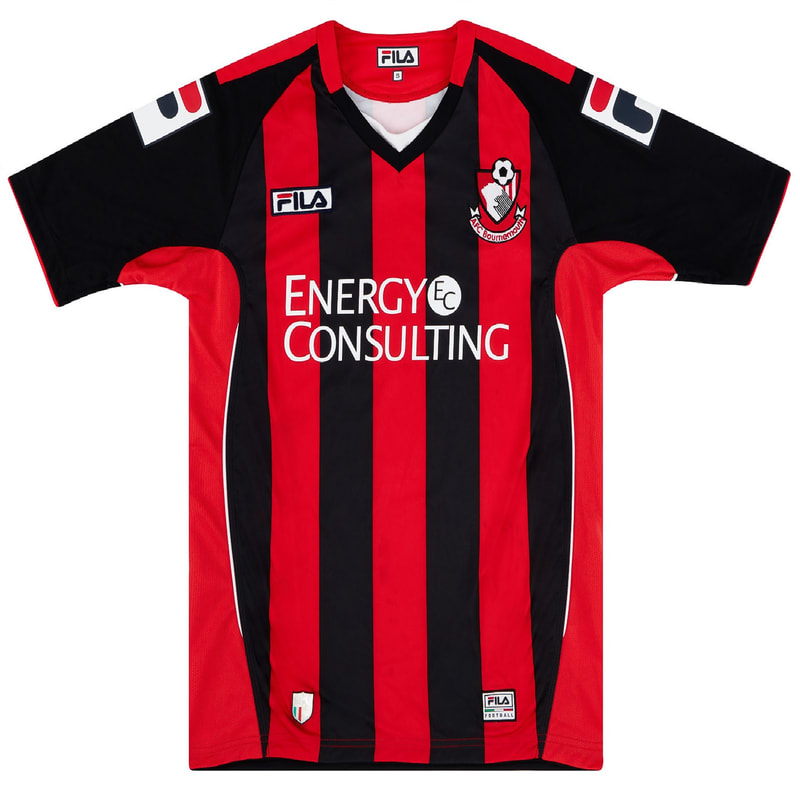 Bournemouth Home 2012/2013 Football Shirt Manufactured By Fila. The Club Plays Football In England.