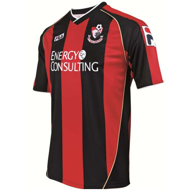 Bournemouth Home 2013/2014 Football Shirt Manufactured By Fila. The Club Plays Football In England.