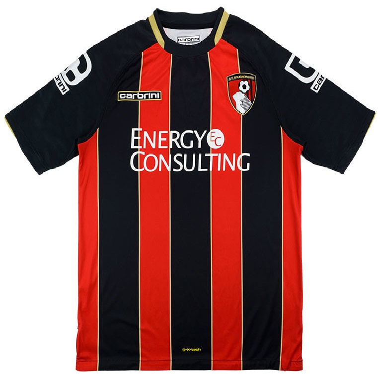 Bournemouth Home 2014/2015 Football Shirt Manufactured By Carbrini. The Club Plays Football In England.