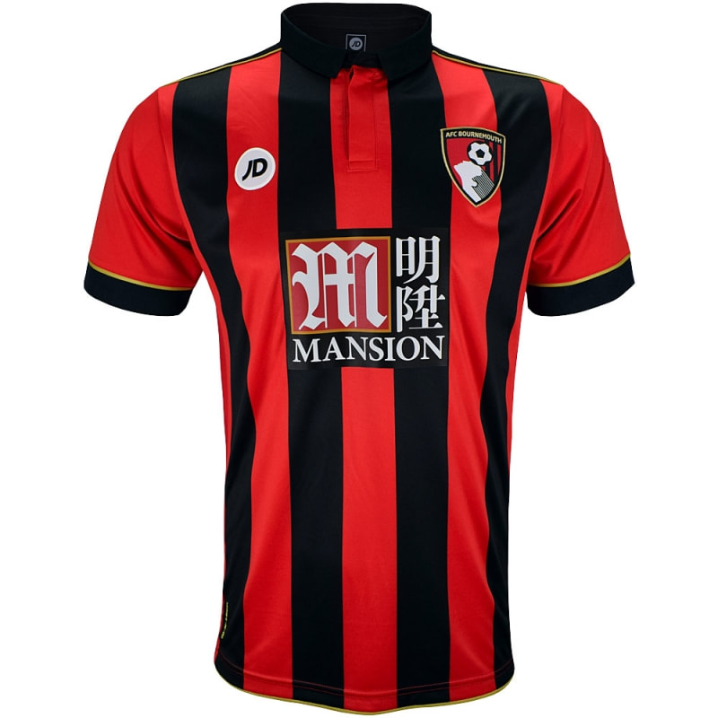 Bournemouth Home 2016/2017 Football Shirt Manufactured By JD Sports. The Club Plays Football In England.