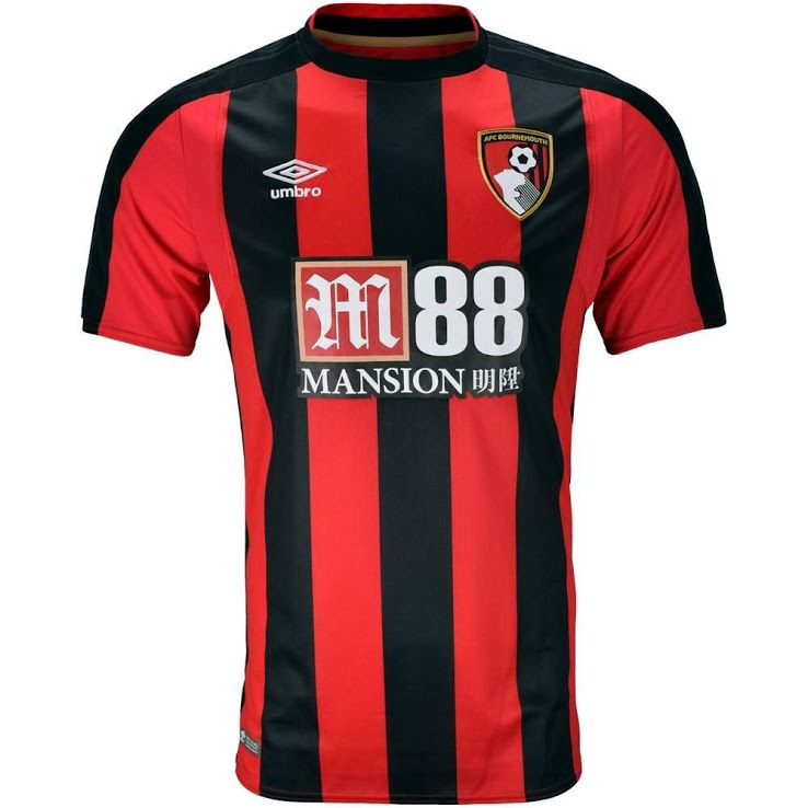 Bournemouth Home 2017/2018 Football Shirt Manufactured By Umbro. The Club Plays Football In England.
