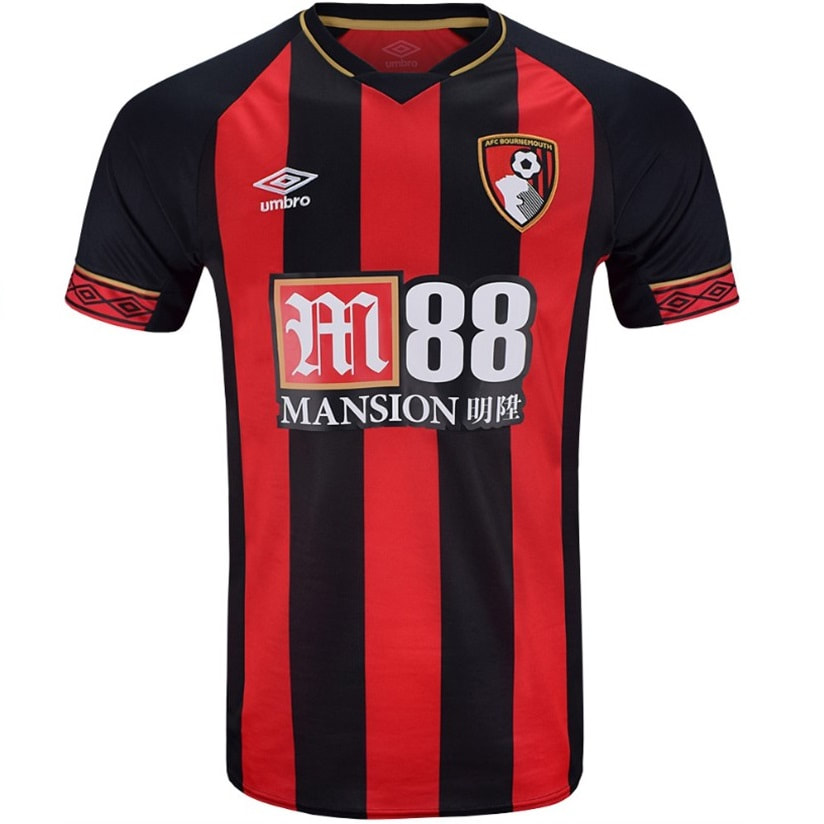Bournemouth Home 2018/2019 Football Shirt Manufactured By Umbro. The Club Plays Football In England.