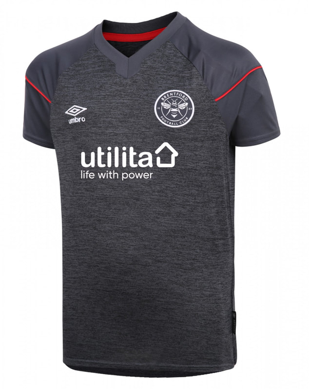Brentford Away 2020/2021 Football Shirt Manufactured By Umbro. The Club Plays Football In The Championship.
