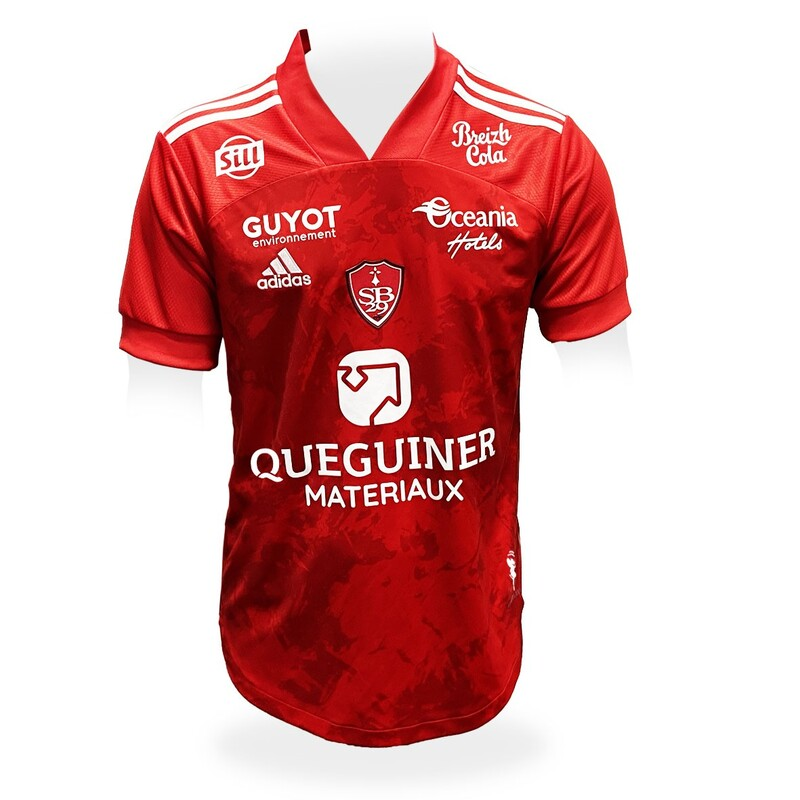 Brest​​ Home 2020/2021 Football Shirt Manufactured By Adidas. The Club Plays Football In France.