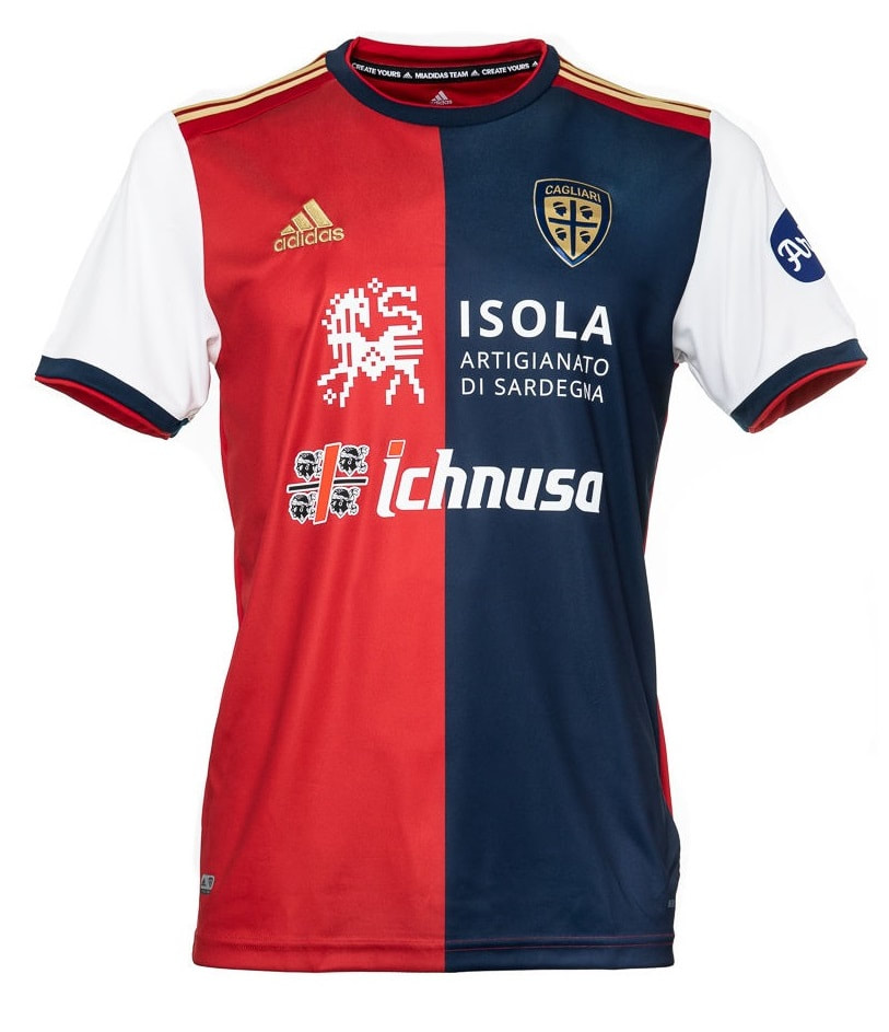 Cagliari Home 2020/2021 Football Shirt Manufactured By Adidas. The Club Plays Football In Italy.