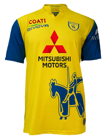 Chievo Home 2020/2021 Football Shirt Manufactured By Givova. The Club Plays Football In Italy.