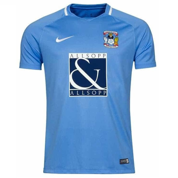 Coventry City Home 2017/2018 Football Shirt Manufactured By Nike. The Club Plays Football In England.