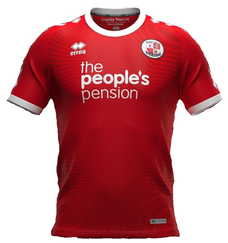 Crawley Town Home 2020/2021 Football Shirt Manufactured By Errea. The Club Plays Football In England.