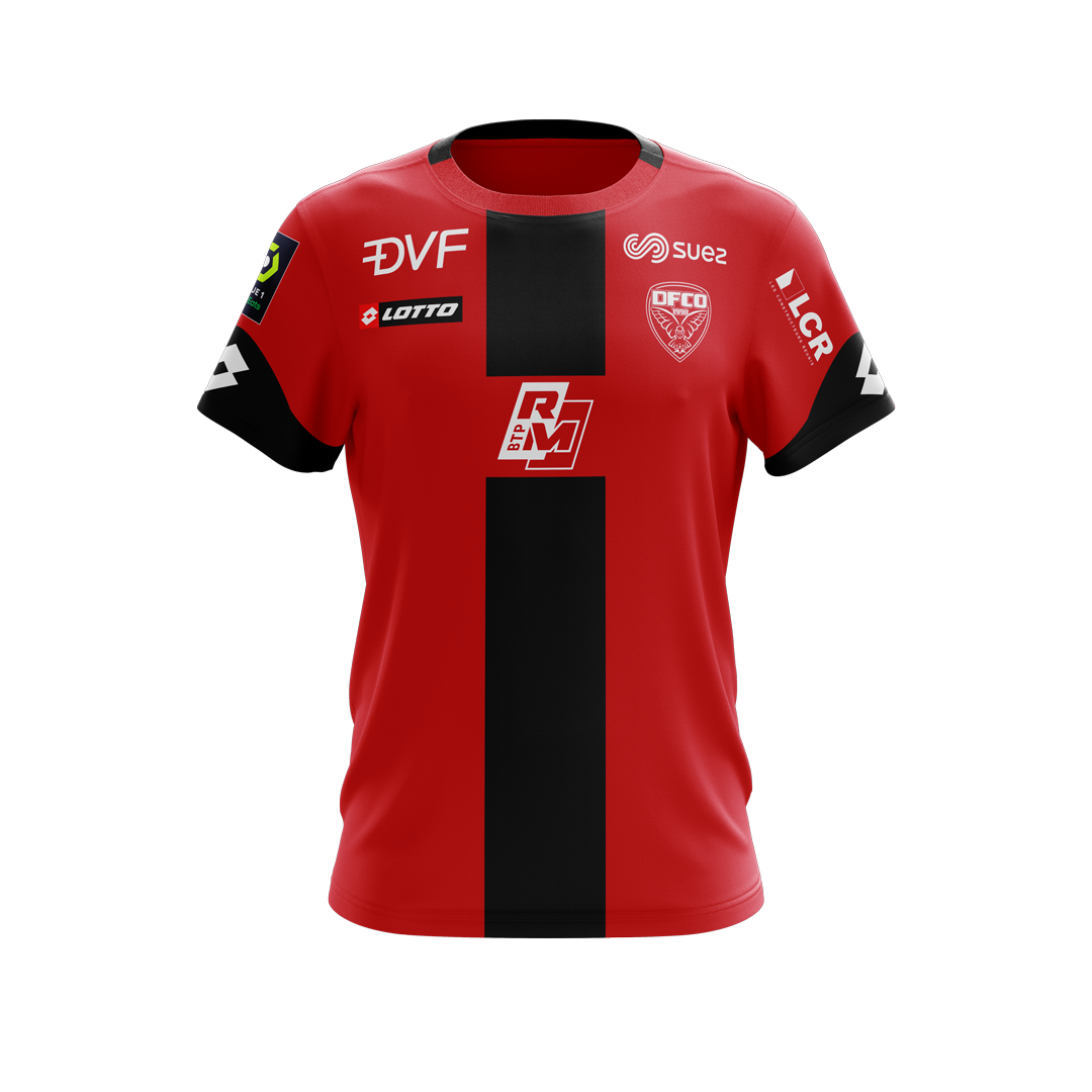 Dijon Home 2020/2021 Football Shirt Manufactured By Lotto. The Club Plays Football In France.