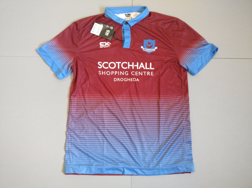 Drogheda United F.C. Home 2016 Football Shirt Manufactured By CX+ Sport. The teams plays football in Ireland.