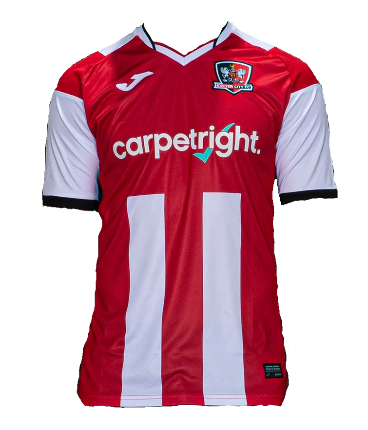Exeter City Home 2020/2021 Football Shirt Manufactured By Joma. The Club Plays Football In England.