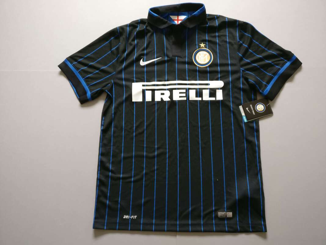 F.C. Internazionale Milano Home 2014/2015 Football Shirt Manufactured By Nike. The Club Plays Football In Italy.