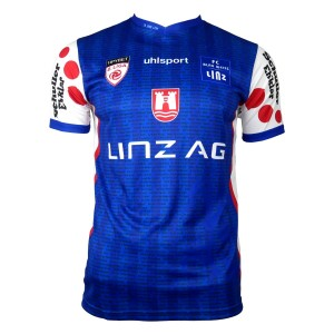 FC Blau-Weiß Linz Home 2020/2021 Football Shirt Manufactured By Uhlsport. The Club Plays Football In Austria.