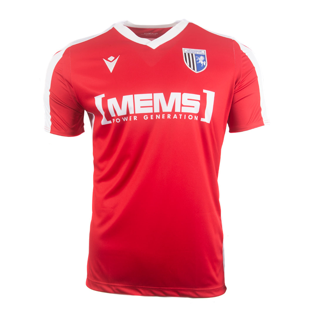 Gillingham Away 2020/2021 Football Shirt Manufactured By Macron. The Club Plays Football In League One.