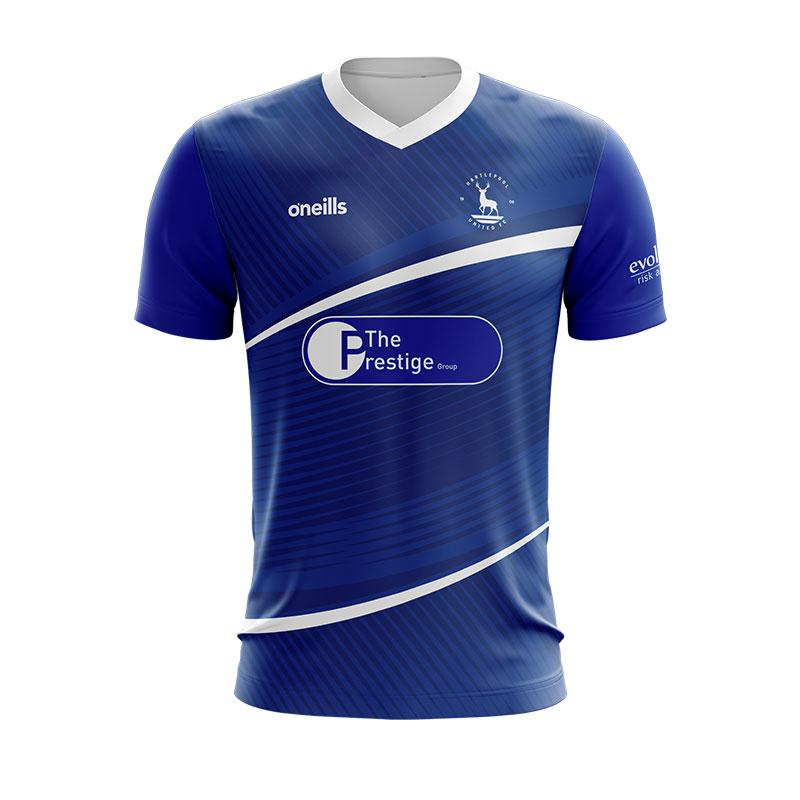 Hartlepool United Home 2020/2021 Football Shirt Manufactured By O'Neills. The Club Plays Football In England.