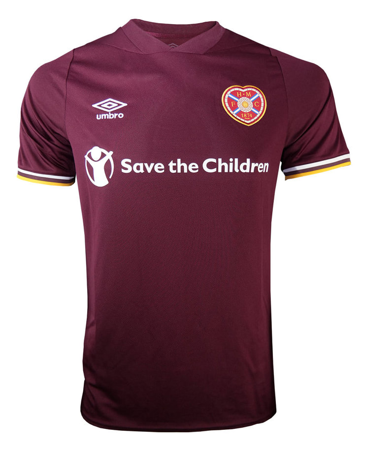 Heart of Midlothian Home 2020/2021 Football Shirt Manufactured By Umbro. The Club Plays Football In Scotland.
