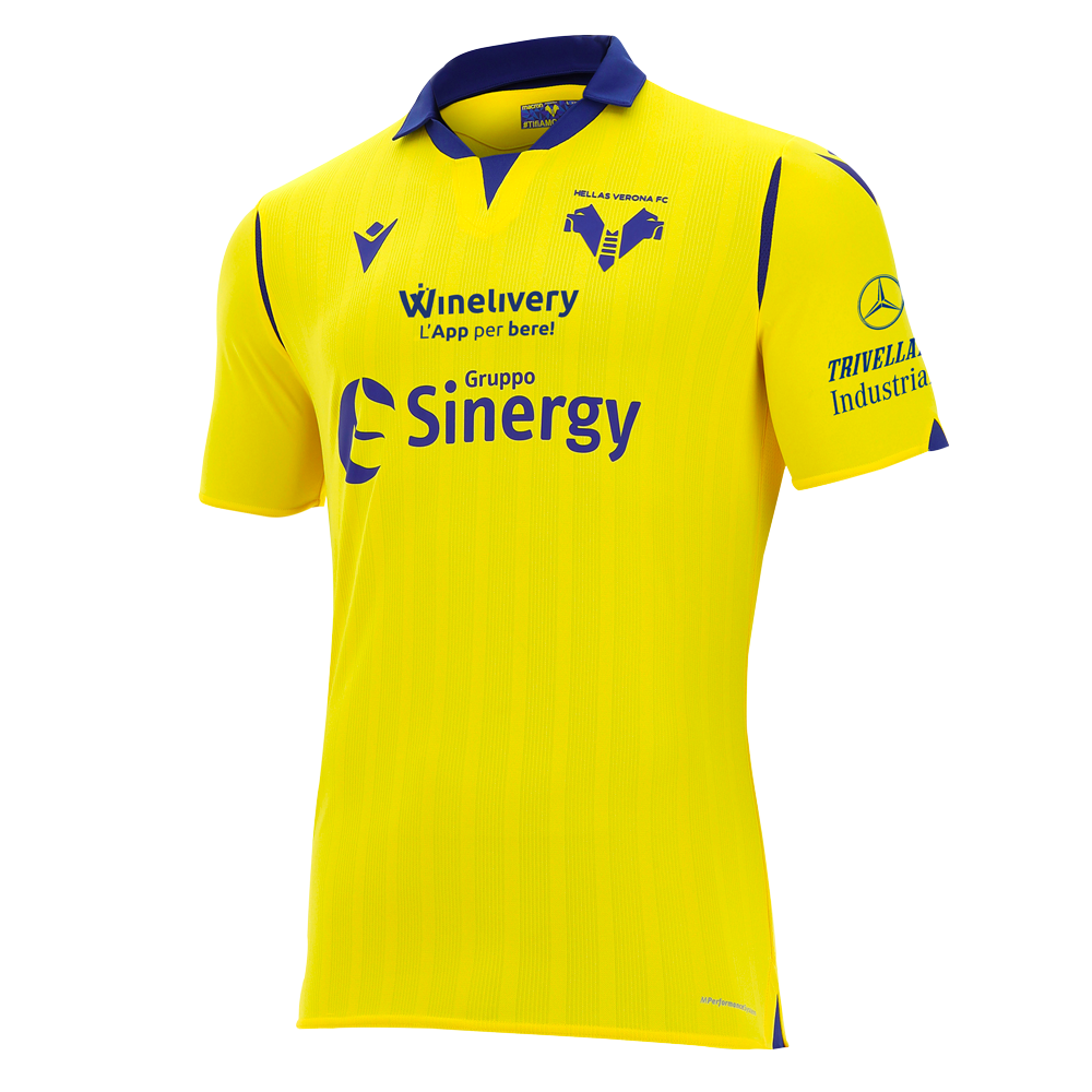 Hellas Verona Away 2020/2021 Football Shirt Manufactured By Macron. The Club Plays Football In Italy.