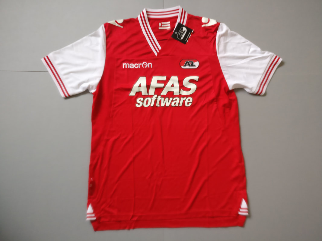 Alkmaar Zaanstreek Home 2013/2014 Football Shirt Manufactured By Macron. The Club Plays Football In The Netherlands.