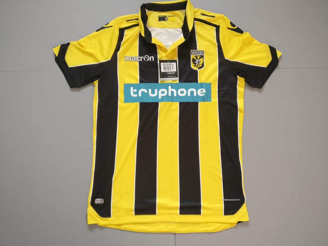 SBV Vitesse Home 2016/2017 Football Shirt Manufactured By Macron. The Club Plays Football In The Netherlands.