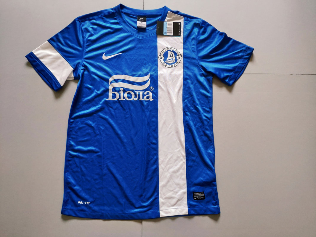 FC Dnipro Dnipropetrovsk Home 2013/2014 Football Shirt Manufactured By Nike. The Club Plays Football In Ukraine.