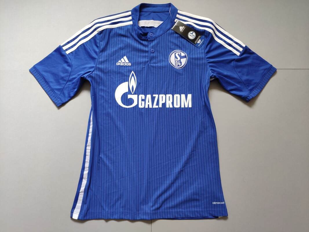 FC Schalke 04 Home 2014-2016 Football Shirt Manufactured By Adidas. The Club Plays Football In Germany.