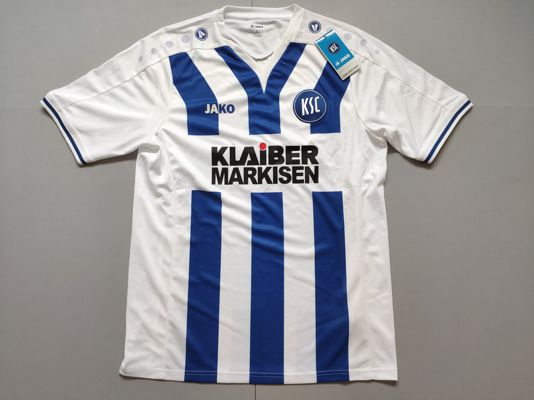Karlsruher SC Home 2015/2016 Football Shirt Manufactured By Jako. The Club Plays Football In Germany.