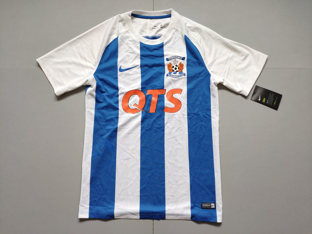 Kilmarnock F.C. Home 2017/2018 Football Shirt Manufactured By Nike. The Club Plays Football In Scotland.