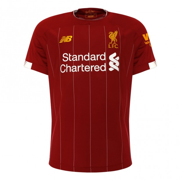 Liverpool 2019/2020 Home Football Shirt Manufactured By New Balance. The Club Plays Football In England.