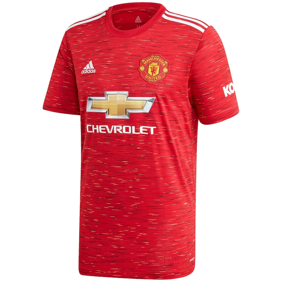 Manchester United 2020/2021 Home Football Shirt Manufactured By Adidas. The Club Plays Football In England.