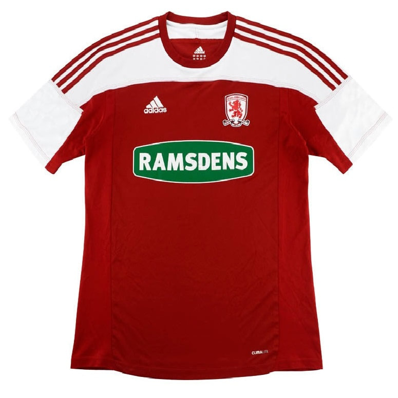 Middlesbrough Home 2011/2012 Football Shirt Manufactured By Adidas. The Club Plays Football In England.