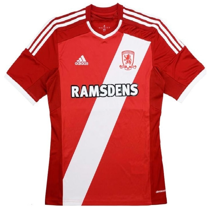 Middlesbrough Home 2014/2015 Football Shirt Manufactured By Adidas. The Club Plays Football In England.