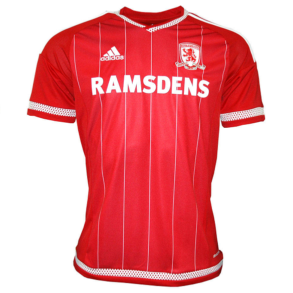 Middlesbrough Home 2015/2016 Football Shirt Manufactured By Adidas. The Club Plays Football In England.