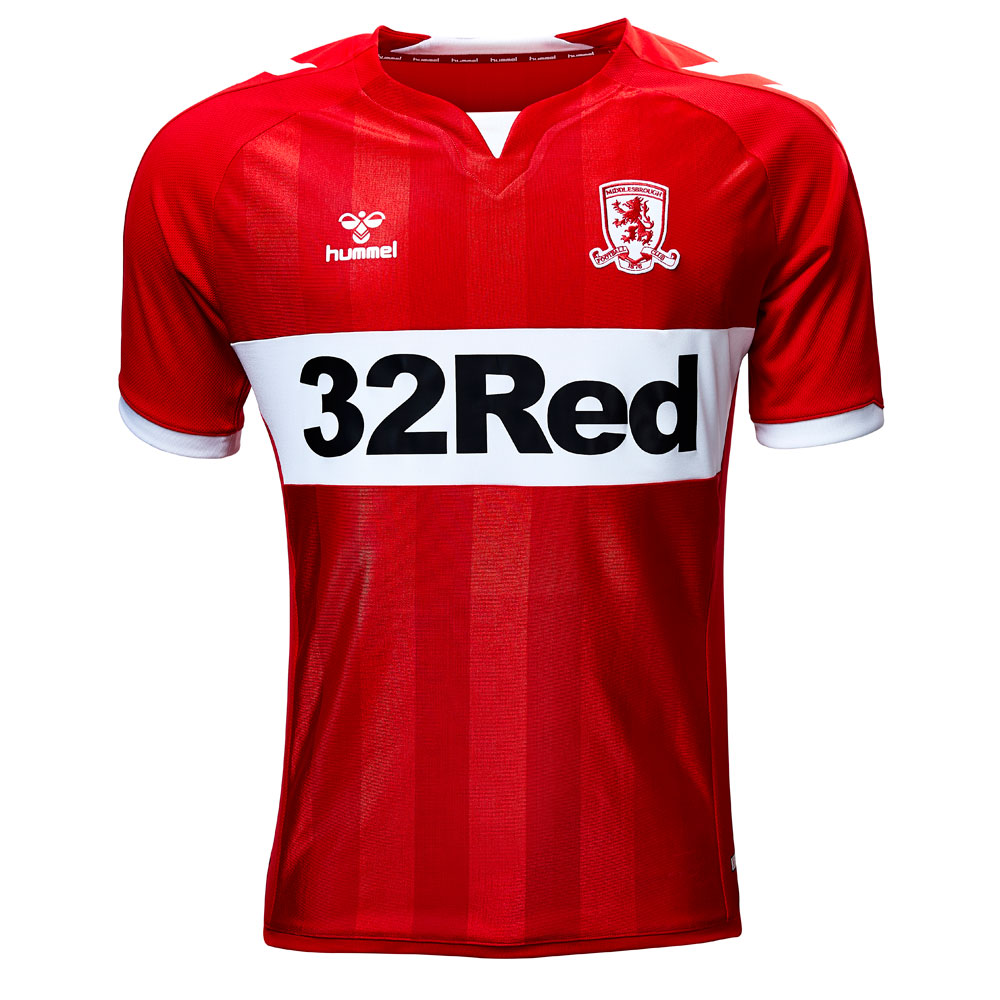 Middlesbrough Home 2018/2019 Football Shirt Manufactured By Hummel. The Club Plays Football In England.