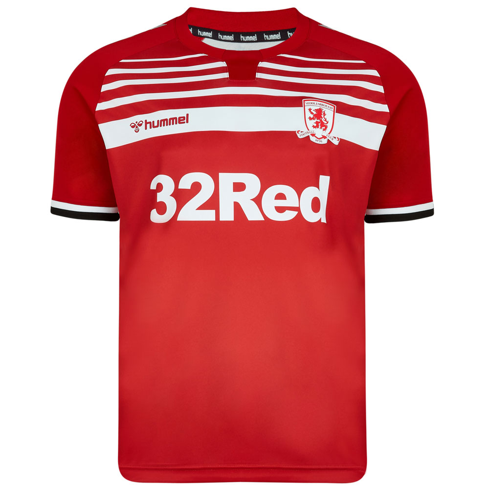 Middlesbrough Home 2019/2020 Football Shirt Manufactured By Hummel. The Club Plays Football In England.