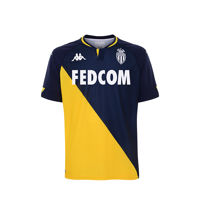 Monaco Away 2020/2021 Football Shirt Manufactured By Kappa. The Club Plays Football In France.