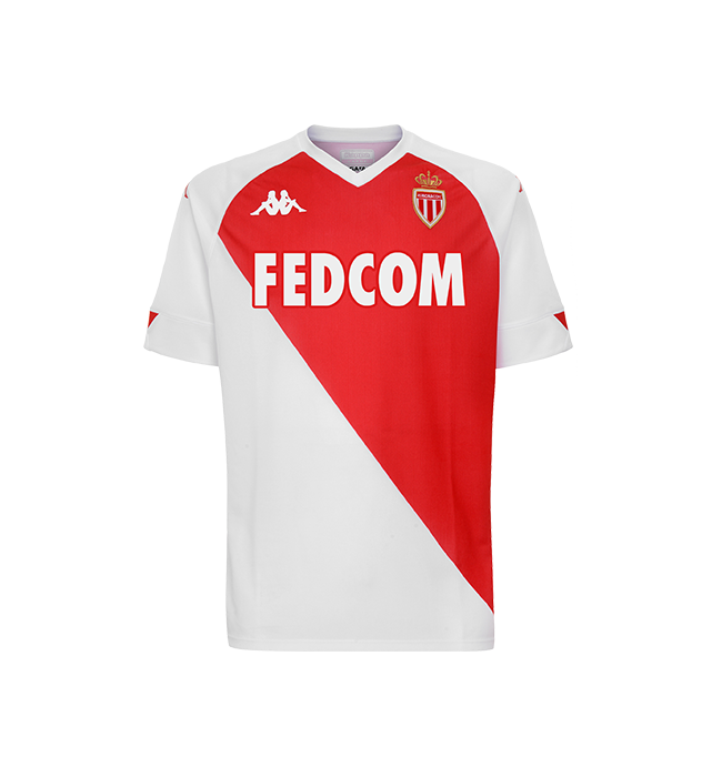 Monaco Home 2020/2021 Football Shirt Manufactured By Kappa. The Club Plays Football In France.