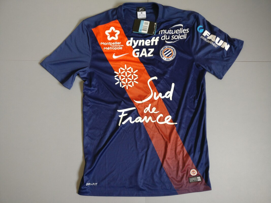 Montpellier HSC Home 2015/2016 Football Shirt Manufactured By Nike. The Club Plays Football In France.