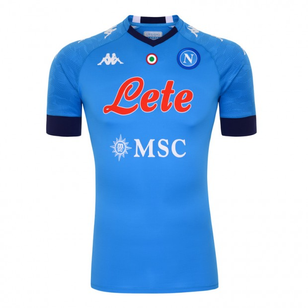 Napoli Home 2020/2021 Football Shirt Manufactured By Kappa. The Club Plays Football In Italy.