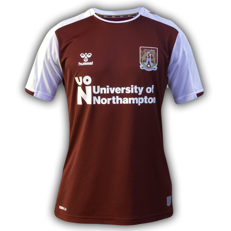 Northampton Town Home 2020/2021 Football Shirt Manufactured By Hummel. The Club Plays Football In England.
