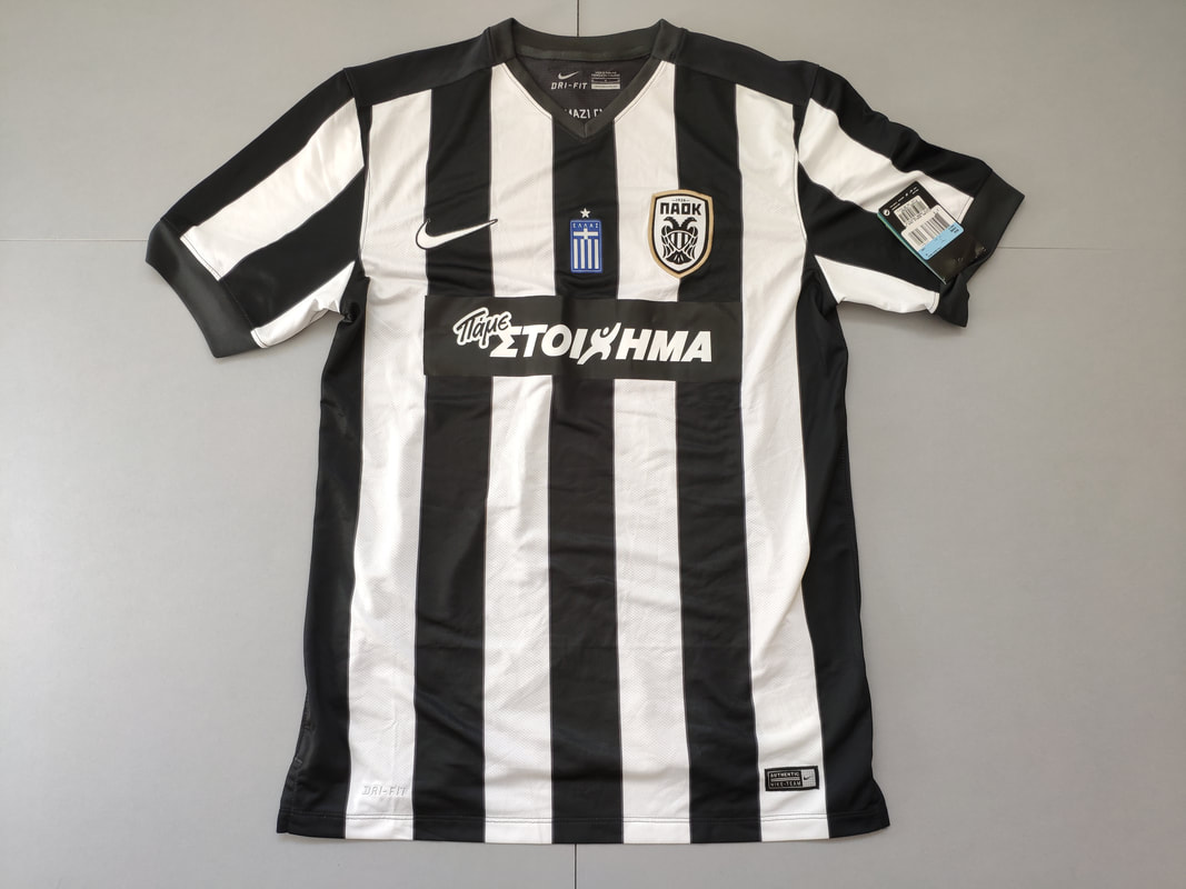 PAOK F.C. Home 2014/2015 Football Shirt Manufactured By Nike. The Club Plays Football In Greece.