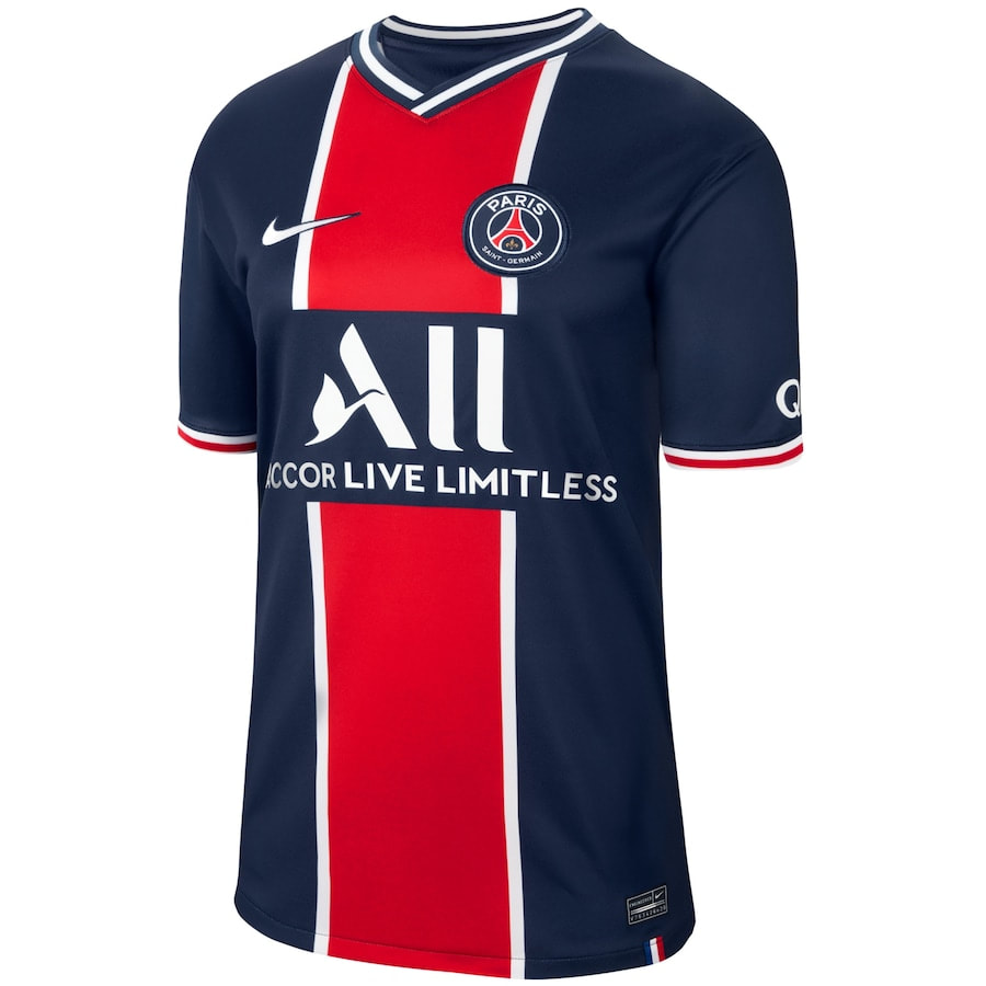 PSG Home 2020/2021 Football Shirt Manufactured By Nike. The Club Plays Football In France.